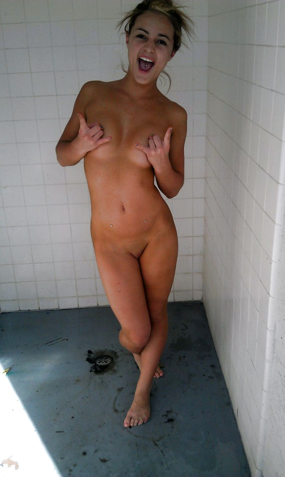 caught in the shower nude