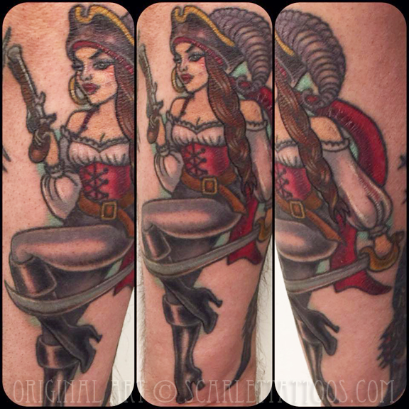 girl pirate pinup vintage tattoos
