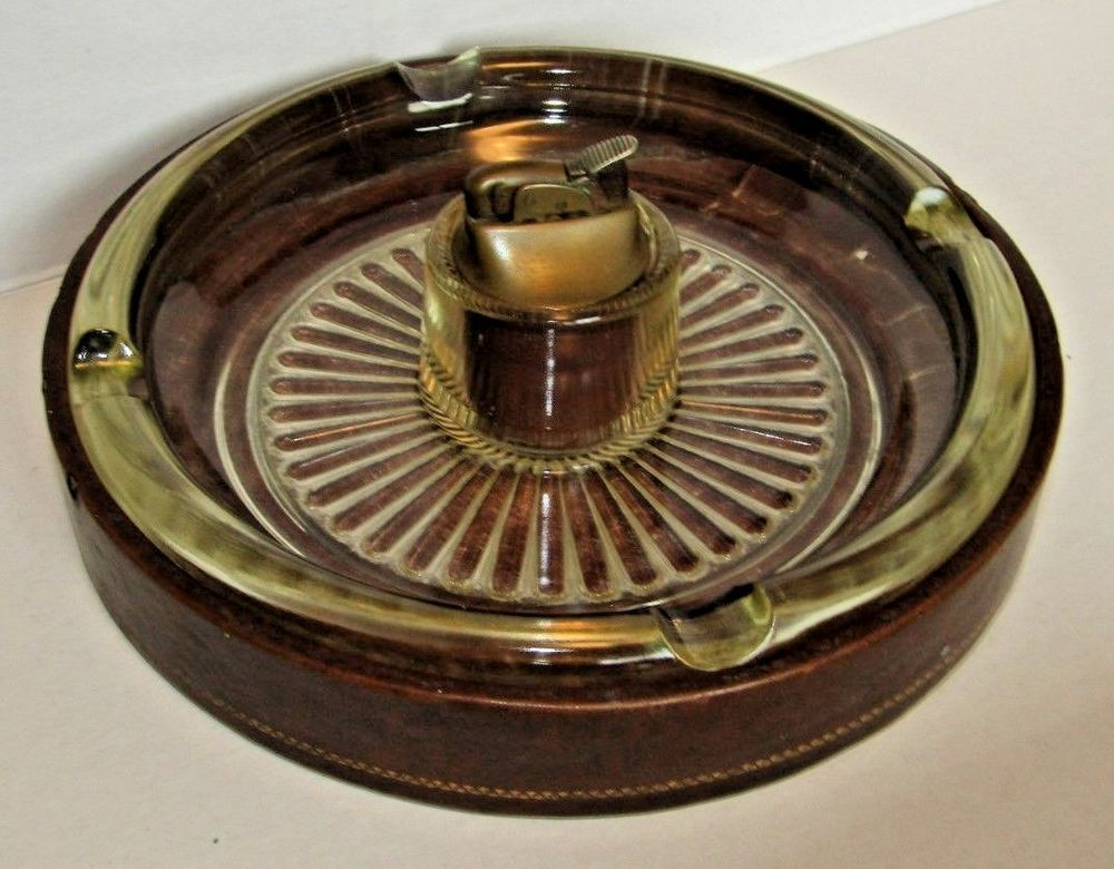 matching ashtray with lighter vintage