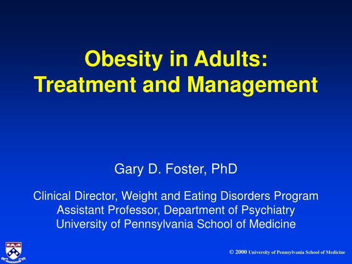 management obesity adults in of