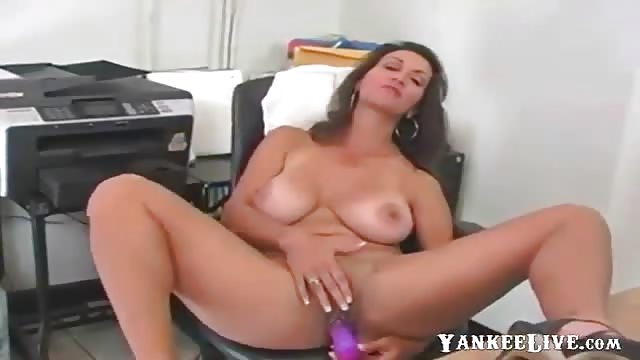with dildo masturbating